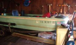 1968 Shell Lake Fishing Boat. fifteen feet long. With 1968 Snowco Trailer. 40 horsepower Evinrude Lark IV motor. Fish Finde,r oars, trolling motors, and life jackets. Can seat four people easily! Trailer needs rewiring and motor needs starter eylanoid.