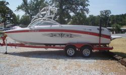 Powered by a 6.0 390 h.p. Pleasurecraft ZR6390 w/78 hours this boat is lake ready! Features include: Full mooring cover, Wakeboard tower with speakers and racks, Extended swim platform with sof-trac, GPS cruise control, LED interior lights, 3 adjustable