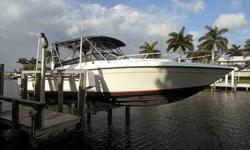 The Contender Side Console is the perfect combination of offshore fishing machine, and family cruiser. She has a large aft cockpit, plentiful seating, and interior cabin space to overnight or take a long weekend away. Generator, fish equipped, loaded.This