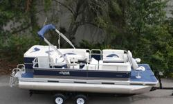 It is a 20 ft Grand Island T series. It is 8 ft wide with 23 inch tubes. This is a beautiful new pontoon boat with 50 oz vinyl seats and alum seat bases with a lifetime warranty. It has a 8 ft bimini-20 oz high grade carpet-built in gas tank-table-cd
