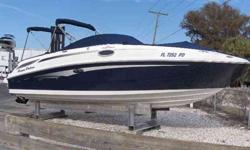 2011 Sea Ray 280 SUNDECK SUPER CLEAN WITH LESS THAN 50 ENGINE HOURS ON 350MAG MPI (300HP) DTS AND BR3 DRIVE - SEA RAY 28 SUNDECK - TWO TONE BLUE WITH CREAM/TAN/ALMOND/WOOD INTERIOR, WEATHER CURTAIN CANVAS PACKAGE, GARMIN COLOR GPS, DUAL BATTERY WITH