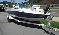 This boat is in like new condition. This boat would make the perfect boat for the family wanting something to tube, ski, board, cruise and fish. It comes with the trolling motor, trailer, fishing seat that mounts in the bow and everything pictured.