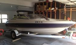 1996 Bayliner Capri 1750 40th Anniversary Editon. This is a great starter boat! The boat is mechanically sound and has a clean interior. The gel coat is in fair shape. The swim platform, is aftermarket with a seadek top. I put new tires, new winch, side