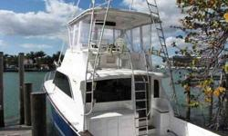 Boat Type: Power What Type: Sport Fisherman, Flybridge Year: 1987 Make: Ocean Yachts Model: Super Sport Engine Model: Detroit Diesel (2) Engine Hours: 40hrs Max Speed: 30 knots Drive Type: Direct Drive Horsepower: 550 each engine Fuel Capacity: 600
