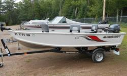 2009 Alumacraft V-14 powered by a 2008 Yamaha 20hp with electric start and power tilt (4-stroke). Package includes a new Shoreland'r roller trailer. Beam: 5 ft. 8 in. Optional features: · Stock number: 1573