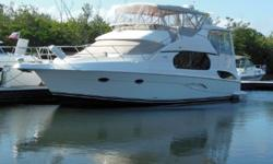 Assisted Living is a 2002 43' Silverton Motor Yacht in clean, uncluttered condition. She offers twin, low-hour Cummins diesel main engines, Kohler low-hour generator, oil change system, bowthruster, molded-in steps throughout the boat and a two stateroom