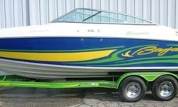 2008 Baja 245 Performance Sport Cuddy Cabin (24?5? X 8?6?), MerCruiser 496 Magnum MPI 375 HP B1, ?08 Heritage tandem axle welded tube custom trailer with 4 wheel disc brakes, aluminum tread plates, Spare tire & mount. This boat is Blue and White with