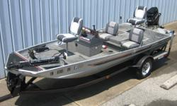1987 Bass Tracker TX-17 (17? X 74?), Aluminum Bass Boat, ?87 Mercury Classic 50 (45HP), 2 Stroke ?87 Trailstar single axle bunk trailer with load guides, spare tire & mount. This boat is Silver and Black with Gray carpet. The floorplan has side console
