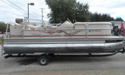 A nice cruising pontoon with power for tubing. Powered by a Mercury 90 hp four stroke motor you can load her up with 11 people. Trailer the boat to your favorite lake on the float on Yacht Club trailer. Hin: WRSEO4881607 Beam: 8 ft. 0 in. Hull color: Tan