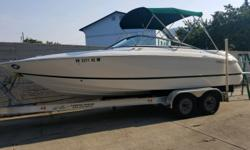 ONLY 93 HRS!, Volvo 8.1 Gi-H, Dual Prop, Fuel injection, AGM Batteries- Dual W/Switch, Hydraulic trim tabs, Extended swim platform,Transom shower cold, Porta potti, Depth Sounder, Stereo AM/FM/CD player w/4 speakers, Bimini top, Bow cover, Cockpit cover,