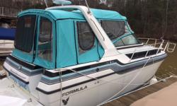 This Cabin Cruiser has been totally remodeled from the water to the electric. New interior, beds, a/c, gas tank, sewer holding tank, stereo and TV system, new fully enclosed canvas and windows and more. It also has a rebuilt 454 400hp Cyclone engine in it