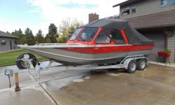 1998 ThunderJet Alexis 21 RF ( removable fixed frame ) Kodiak Jet, fuel injected ford 351, 400 total hours, heaters, stereo , fish finder, live well, new canvas . 1998 Tricker tandem axle trailer. many extras.