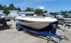 This Deck Boat just in. 10 person capacity with a Mercruiser 240 hp V-8 motor with low hours. Covers and trailer included. Hull color: Blue/white Stock number: Jilek Boat cover; Bimini top; Swim platform;