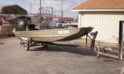 1993 1470FP Tunnel boat on a trailer and a 1996 30hp Evinrude electric start outboard. Beam: 5 ft. 10 in.