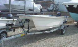 New Livingston LV12 T Skiff powered with a Yamaha F15 hp Electric Start and packaged with a Load- Rite Bunk Trailer. The LivingstonCat skiffs are roomy and stable. Use them as a tender or a boat to bang around in or fish, check out the skiff line from 8ft