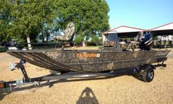 "2017 Lowe 2070 Roughneck Center Console with the optional, and rarely seen, Mercury ""150hp"" Optimax Pro XS! optional camo paint, Mercury Smart Craft multi function gauge, hydraulic steering, MinnKota Terrova 80 pound thrust I Pilot GPS trolling motor,"