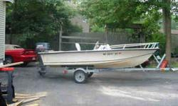 14.5 seastrike 1977, with a 1996 yamaha 40 hp motor and a 02 trailer, runs great, no power trim/tilt, not for ocean use. Call 978-256-2723