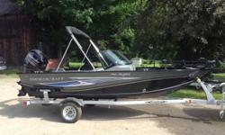 BOAT MOTOR 50hp 4stroke Mercury TRAILER PACKAGE TROLLING MOTOR BATTERIES INCLUDED FREIGHT AND DEALER PREP INCLUDED *Includes all factory rebates where applicable Hull color: BLUE Optional features: INCLUDED: PKG, POWER PACK 2011 PRERIG ALUM, MERC 12'