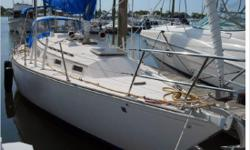 "General Description The Sabre 34 was designed to be a racer-cruiser and offers excellent craftsmanship, gorgeous lines, terrific sailing characteristics, and sturdy blue water construction. ""Swallow"" was hand crafted in Maine, as all Sabres, with no"