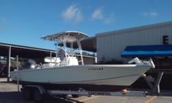 2005 SEA CHASER 245 BAY RUNNER W/ 2005 YAMAHA FOUR STROKE 200 HP ENGINE AND TANDEM AXLE ALUMINUM TRAILER. T-TOP 150 HOURS ON ENGINE.
