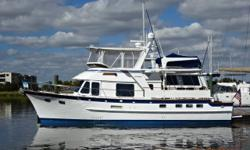 Shenanigans is a stabilized 2000 49' DeFever Cockpit Motoryacht, also known as a 44+5 model. She is in good condition and turn-key for her next owner. She offers twin Perkins Sabre 135 hp naturally aspirated main engines, 12.5 kW Westerbeke generator,