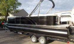 More pictures coming soon. Brand new to our showroom.24.9 ft. Oynx with black pontoons, ectended swim platform, wake tower with black bimini top, teak weave two grey flooring, rear speakers, pylon ski tow, price includes 150hp yamaha.