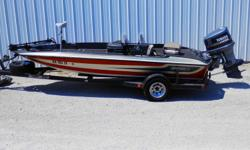 """#422A 1986 Stratos 179V 1988 Yamaha 150 HP ProV 150G Color: Gunmetal / Red Equipment: Minkota 45 Edge / Lowrance 1240A at Console / Humminbird 561 DI at Bow / Cover / 10"""" Jack Plate / Spare Tire / Single Axle Trailer Note: Clean boat with some newer"""
