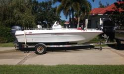 2003 Triumph 190 Bay with Yamaha 115 4-stroke. Garage kept since purchased new. Boat and motor in very good condition. Brand new trailer, new trolling motor and radio. Includes cushion package, bimini top, compass, SS prop, dual starting batteries with
