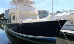 Mainship got it right with this 43' Trawler..... A sedan model with GOOD access to the engines...An enjoyable stairwell that leads to a flybridge that rivals MUCH larger yachts, and is capable of doubling the slow speed of a conventional trawler. Two