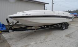 Big open Deckboat design by Chaparral.Room for plenty of family & friends and the power to go with it. Mercruiser 7.4MPI will get you there quick and with fuel efficiency.A great day boat for the entire family. Custom trailer included. Draft: 3 ft. 0 in.