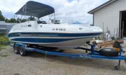 Here's the large deck boat you and your family has been waiting for.Large capacity with endless amount of storage.Mercruiser 250hp motor with a duo prop bravo III drive.Bring the whole family and check out the features. Beam: 8 ft. 6 in. Hull color: Blue