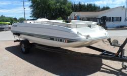 Clean little deck boat powered by a Mercruiser 4.3lt engine. Comes with a 2005 Trailmaster trailer and a boat cover. Beam: 8 ft. 0 in. Hull color: White/Green Stock number: Allen Boat cover; Bimini top;