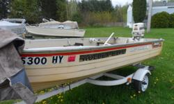 Here is that little fishing boat you've been looking for. Bench seating with a Johnson 25 hp 2 stroke motor and a full boat cover.Trailer included. Stock number: UB760 Boat cover;