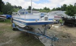 A rare find, deck boat with fish and ski capabilities. Powered by an Evinrude 140hp two stroke motor. Engine just serviced and trailer has new tires and bearings. Also LED trailering lights. Fun for the whole family. Beam: 7 ft. 0 in. Hull color: Blue
