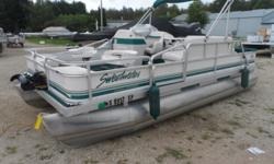 A clean 4 position fishing pontoon. Newer Minn-Kota trolling motor and covers. Powered by a Johnson 50 HP two stroke engine. Hurry in, the fall bite is on. No trailer. Beam: 8 ft. 0 in. Hull color: Green Stock number: Schaefer Boat cover; Trolling motor;