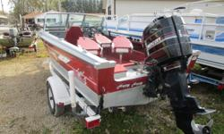 This boat is in real nice shape and has four seats, a Helix 5 fish locator and a bimini top with matching bow cover. Powered by a Mercury 75 hp two stroke with oil injection. Includes a roller trailer with tie downs and spare tire. Hull color: Red Depth