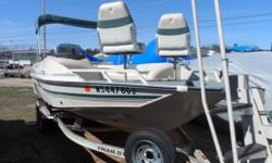 Nice deck boat powered by a newer Merc. 4.3lt motor.Has seen it's better day, but still a lot of fun in this boat. Custom Trailer inc. Hin: US BUJ75113 001 Hull color: Brown Stock number: Nathe Bimini top;