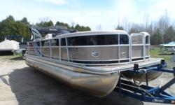 Just in. A great fish/cruise pontoon with a full vinyl floor. 12 person capacity with a Mercury 115 HP four stroke motor. Many other options and standard equipment make this a must see.Trailer in pixs, not included. But available. Beam: 8 ft. 6 in. Fuel