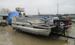 Used fish/cruise pontoon in nice shape. Lots of speakers and a changing room. No motor or controls. Has a bunk trailer. Electronics not guarantied. 13 person capacity. Beam: 8 ft. 0 in. Hull color: White/Blue Stock number: Mellot Bimini top;
