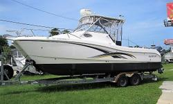 THIS IS A NICE CONDITION 2004 WORLD CAT 270 EC POWERED BY TWIN YAMAHA F225'S, EXHAUST TUNERS WERE DONE AND THEY HAVE 881 & 898 HOURS! WE HAVE CLEAR TITLES IN HAND AND SHE'S LOADED WITH THE FOLLOWING OPTIONS: * TWIN YAMAHA F225'S * HYDRAULIC STEERING *