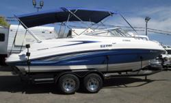 YAMAHA SX230 HO TWIN JET! IT?S A CREAM PUFF!! This super clean High Output Twin Jet Yamaha is the top of the line!! Excellent compression! Low hours! Equipped with a large bimini top, in-dash depth guage, table for the comfortable large swim deck, huge